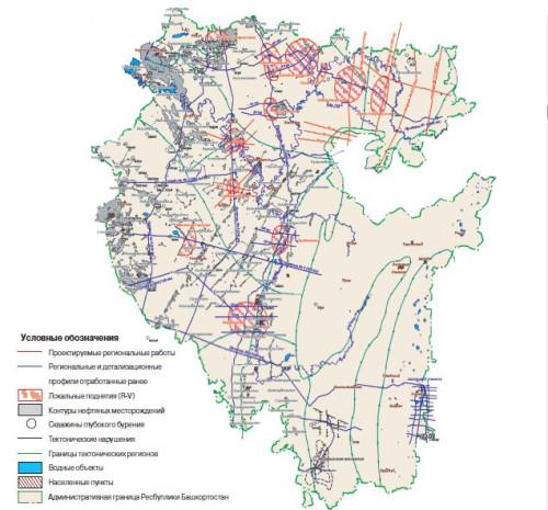 Карта месторождений Башкирии